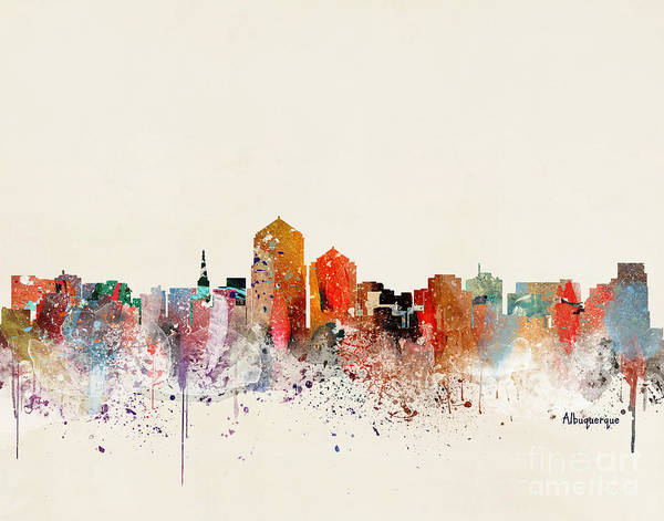 Mexican Painting - Albuquerque New Mexico Skyline  by Bri Buckley