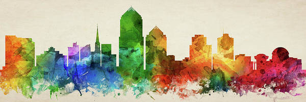 Wall Art - Digital Art - Albuquerque Skyline Panorama Usnma-pa03 by Aged Pixel