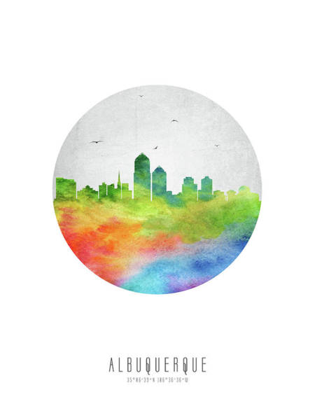 Wall Art - Digital Art - Albuquerque Skyline Usnmal20 by Aged Pixel