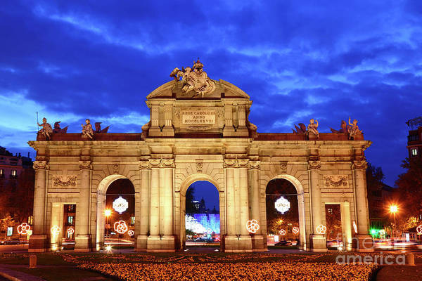 Photograph - Alcala Gateway At Blue Hour Madrid by James Brunker