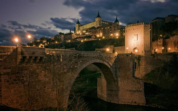 Photograph - Alcantara Bridge And Alcazar Toledo Night by Joan Carroll