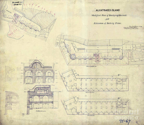 Wall Art - Photograph -  Alcatraz  Bomb Proof Barracks Drawing 1865   by Jon Neidert
