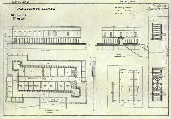 Wall Art - Photograph - Alcatraz Defensive Barracks Drawing 1859 by Jon Neidert