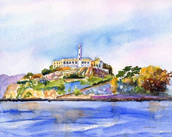 Painting - Alcatraz Island San Francisco Bay by Carlin Blahnik CarlinArtWatercolor