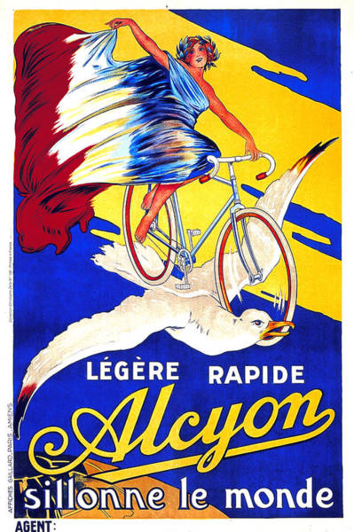 Wall Art - Mixed Media - Alcyon Cycles - Vintage French Advertising Poster by Studio Grafiikka