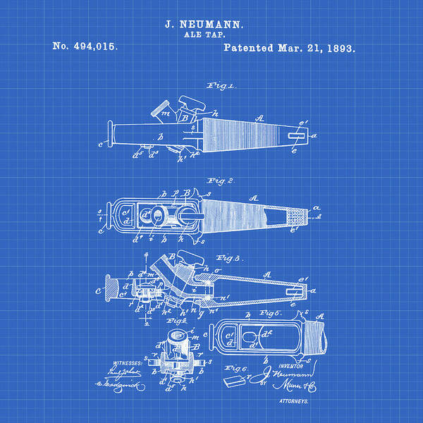 Wall Art - Photograph - Ale Tap Patent 1893 In Blueprint by Bill Cannon