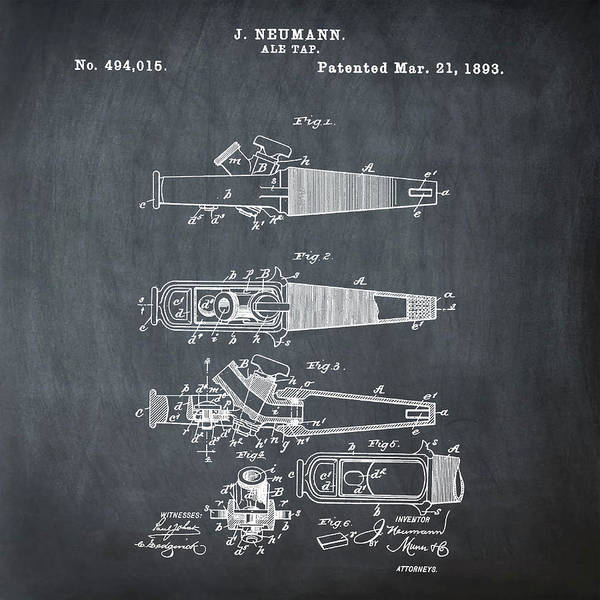 Photograph - Ale Tap Patent 1893 In Chalk by Bill Cannon
