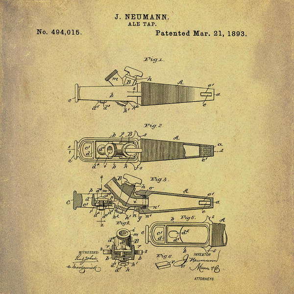 Photograph - Ale Tap Patent 1893 In Sepia by Bill Cannon