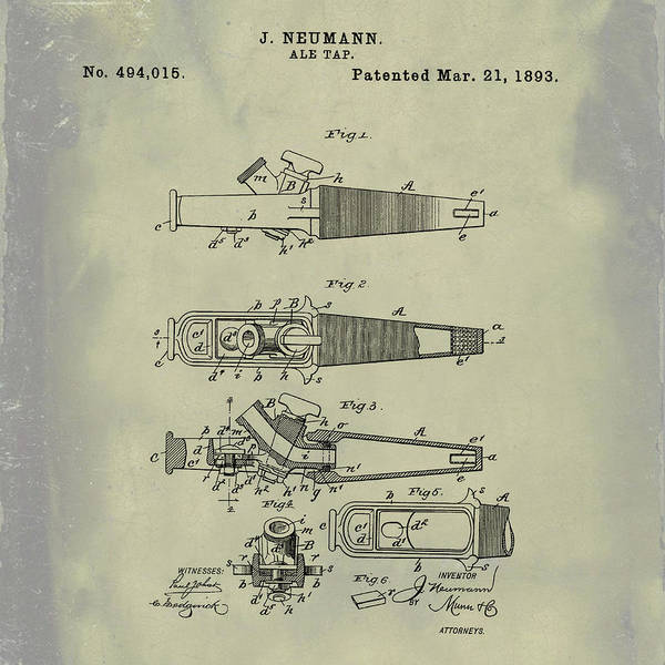 Photograph - Ale Tap Patent 1893 In Weathered by Bill Cannon