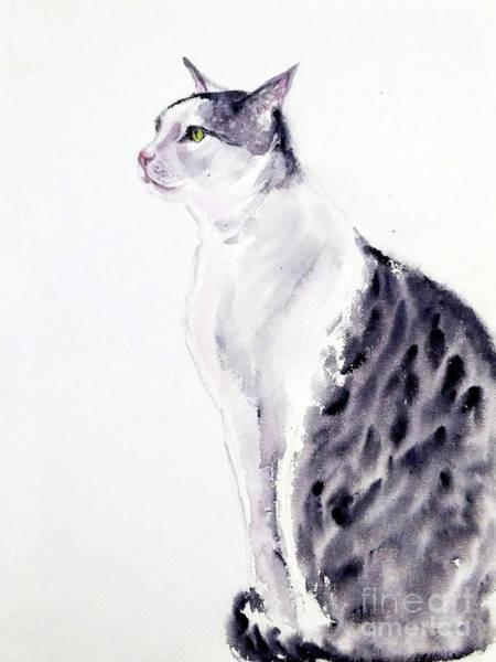 Painting - Alert Cat by Asha Sudhaker Shenoy