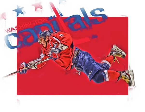 Wall Art - Mixed Media - Alex Ovechkin Washington Capitals Oil Art 2 by Joe Hamilton