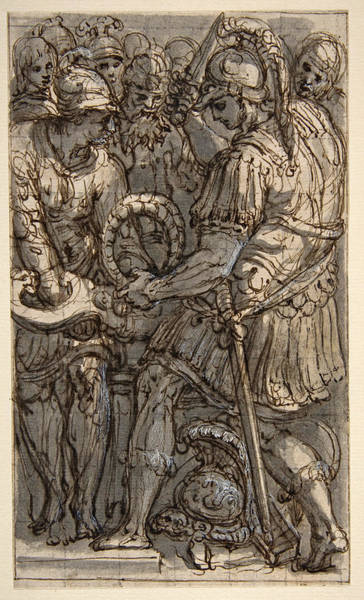Drawing - Alexander Cutting The Gordian Knot by Perino del Vaga