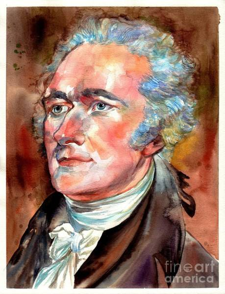 Souvenirs Painting - Alexander Hamilton Watercolor by Suzann Sines