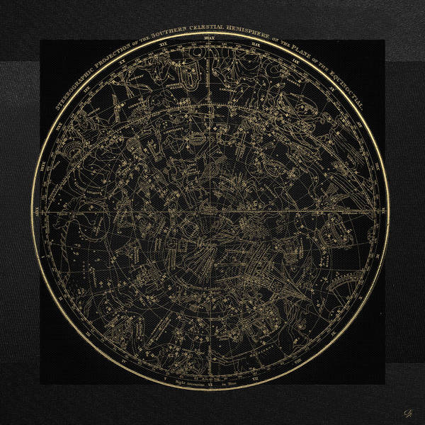 Digital Art - Alexander Jamieson's Celestial Atlas - Southern Hemisphere Gold On Black Edition by Serge Averbukh