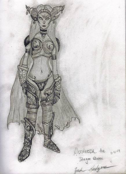 World Of Warcraft Wall Art - Drawing - Alexstrasza The Life-binder by Zach Rodgers