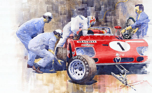 Motorsport Painting - Alfa Romeo 33tt3 Targa Floria 1972 Vaccarella Stommelen by Yuriy Shevchuk