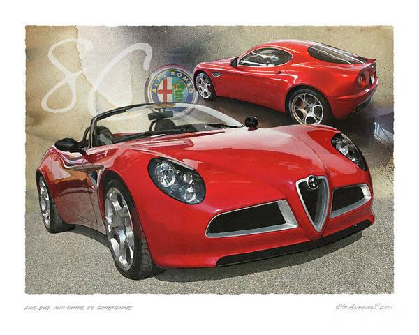 Digital Art - Alfa Romeo 8c Competizione by Rick Andreoli