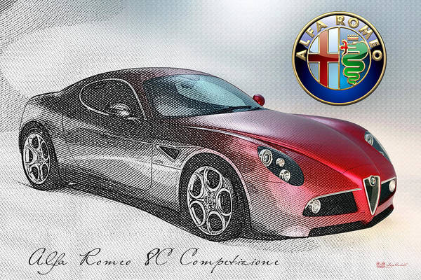 Car Badges Photograph - Alfa Romeo 8c Competizione  by Serge Averbukh