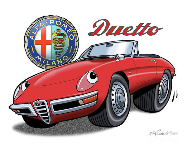 Alfa Romeo Duetto Cartoon Art Print