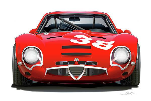 Wall Art - Drawing - Alfa Romeo Giulia Tz2 by Alain Jamar