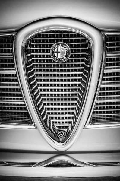 Photograph - Alfa Romeo Grille Emblem -0635bw by Jill Reger