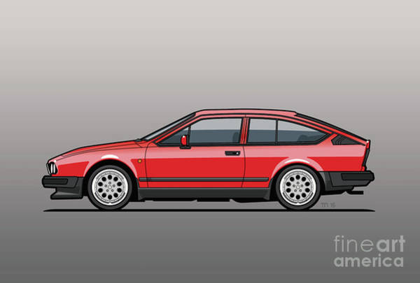 Wall Art - Digital Art - Alfa Romeo Gtv6 Red by Monkey Crisis On Mars