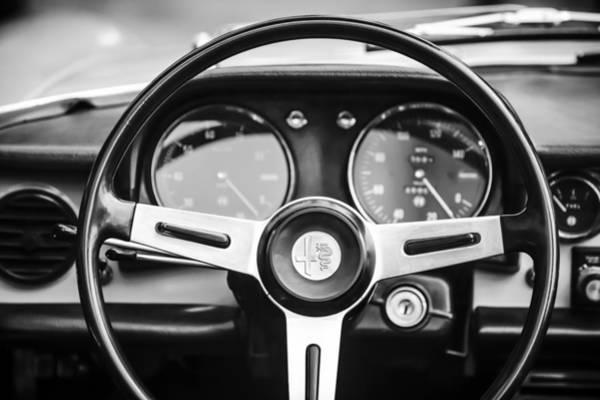 Photograph - Alfa Romeo Steering Wheel -0904bw by Jill Reger