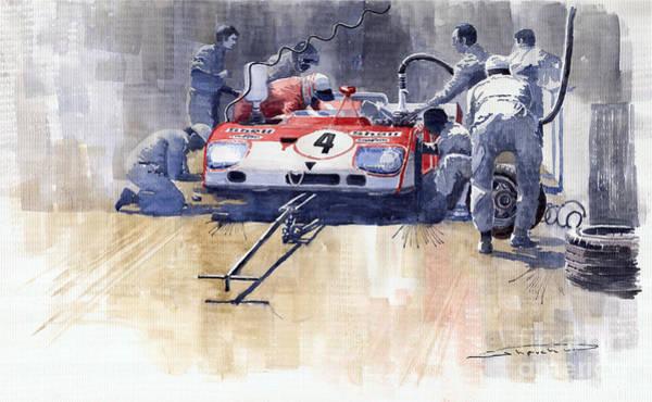 Wall Art - Painting - Alfa Romeo T33 Tt3 1972 Targa Florio  by Yuriy Shevchuk