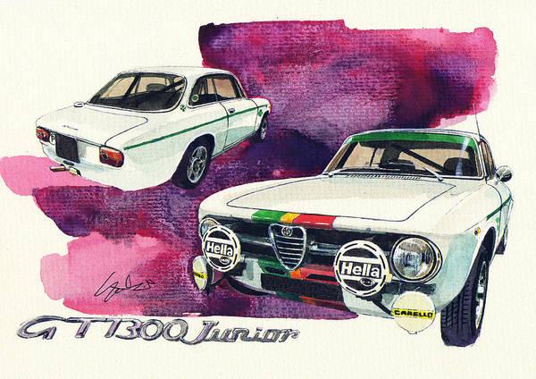 Alfa Romeo Painting - Alfa Roreo Gt 1300 Junior by Yoshiharu Miyakawa