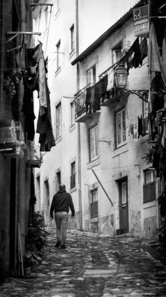 Photograph - Alfama Life Lisbon Portugal Bw by Joan Carroll