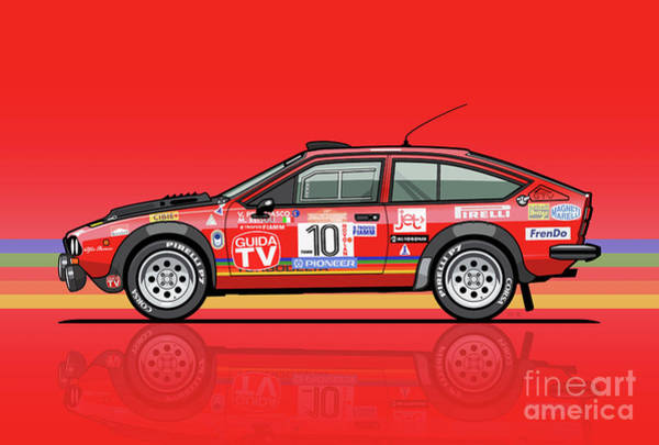 Wall Art - Digital Art - Alfetta Gtv Turbodelta Jolly Club Fia Group 4 1980 Sanremo Rallye by Monkey Crisis On Mars