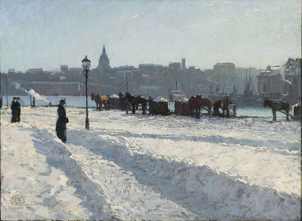 Bergstrom Painting - Alfred Bergstrom - Winter Scene, Stockholm 1899 by Alfred Bergstrom