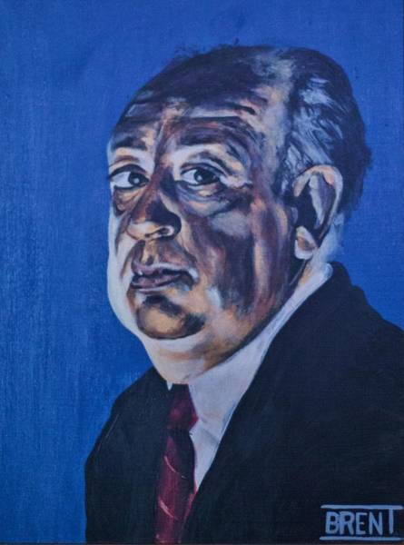 Painting - Alfred Hitchcock by Brent Andrew Doty