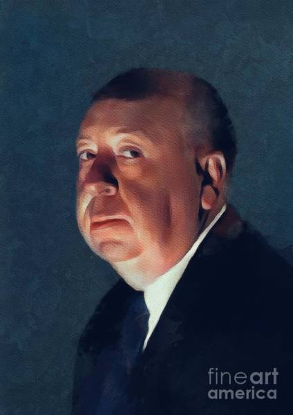 Director Painting - Alfred Hitchcock, Hollywood Legend by Mary Bassett