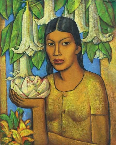 Wall Art - Painting - Alfredo Ramos Martinez 1872-1946 La India De Los Floripondios by Artistic Rifki
