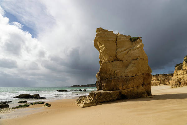 Photograph - Algarve Storm - Foreboding Clouds At Praia Da Rocha Portimao Portugal by Georgia Mizuleva