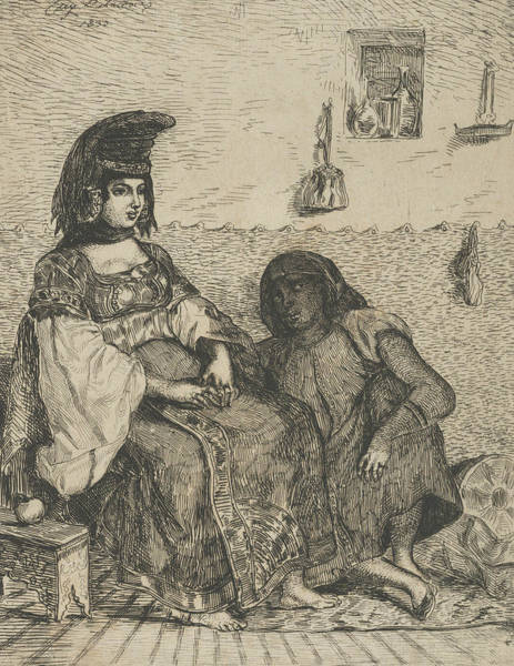 Relief - Algerian Jewess With Her Servant by Eugene Delacroix