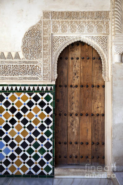 Mosque Photograph - Alhambra Door Detail by Jane Rix
