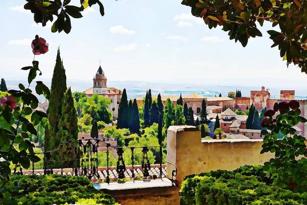 Photograph - Alhambra Gardens, Digital Paint by Tatiana Travelways