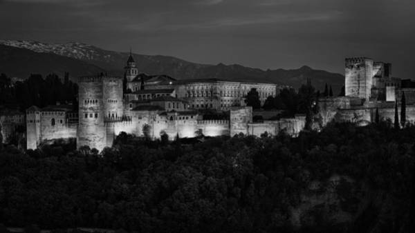 Photograph - Alhambra Sunset Bw by Joan Carroll