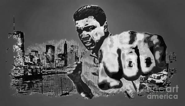 Sportsman Digital Art - Ali The Greatest - Tribute B/w by Ian Gledhill