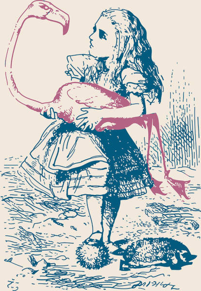 Alice Drawing - Alice And Flamingo Croquet Mallet by