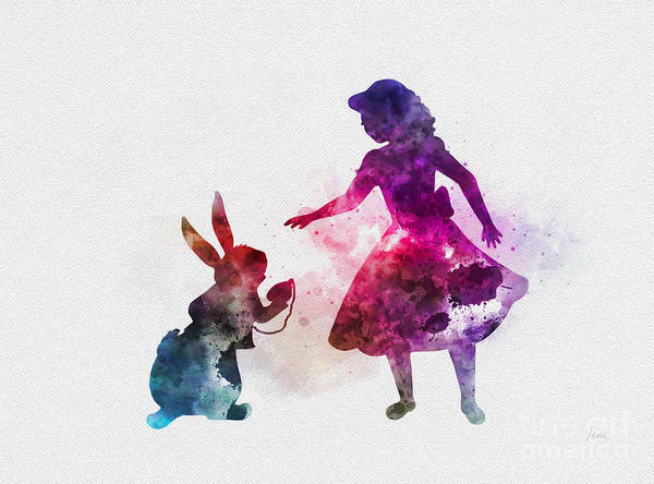 Wall Art - Mixed Media - Alice And White Rabbit by My Inspiration