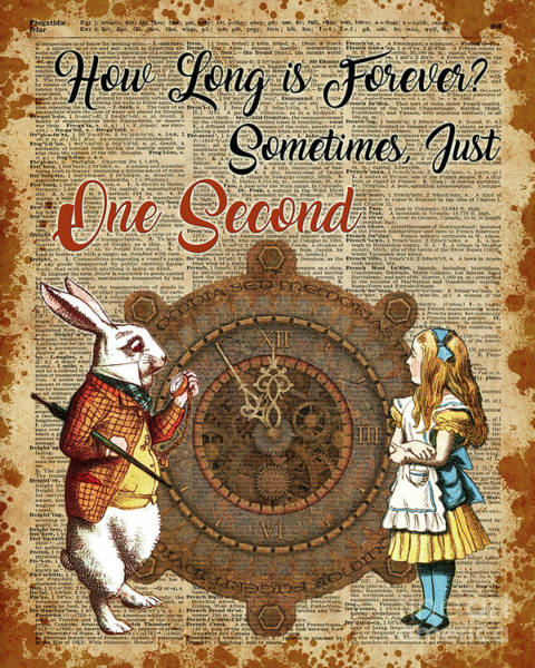 Wall Art - Mixed Media - Alice And White Rabbit Vintage Dictionary Art Quote by Anna W