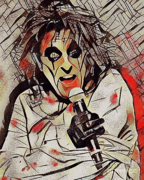 Digital Art - Alice Cooper by Jessie Art