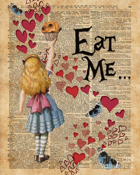 Wall Art - Digital Art - Alice In The Wonderland Eat Me Muffin  by Anna W