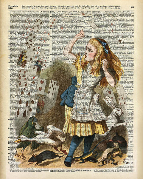 Wall Art - Drawing - Alice In The Wonderland On A Vintage Dictionary Book Page by Anna W