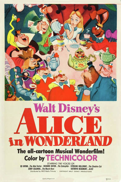 Mixed Media - Alice In Wonderland 1951 by Movie Poster Prints