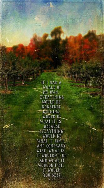 Photograph - Alice In Wonderland Quote by Christina VanGinkel