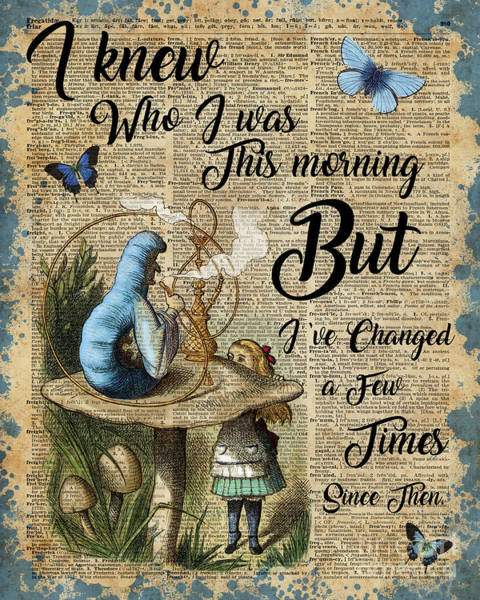 Wall Art - Digital Art - Alice In Wonderland Quote Vintage Dictionary Art by Anna W